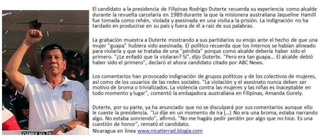 Rodrigo Duterte, el candidato  a la presidencia de Filipinas bromear sobre la violación de una misionera